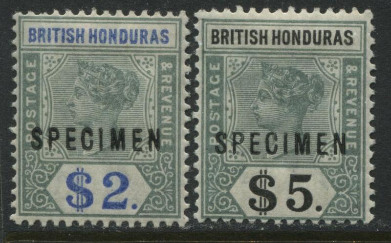 British Honduras QV 1899 $2 and $5 overprinted SPECIMEN