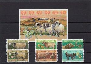 MONGOLIA 2000 FARM ANIMALS/SHEEP SET OF 6 STAMPS & S/S MNH