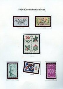 1964 COMMEMORATIVES OG/MNH - FILLER OR STARTER PAGE - SEE DETAILS
