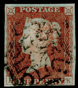 SG9, 1d pale red-brown PLATE 28, FINE USED. Cat £65. BLACK MX. HK