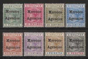 MOROCCO AGENCIES 1899 QV Gibraltar set 5c-2P.