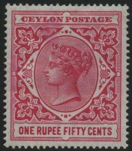 CEYLON-1899-1900 1r50 Rose Sg 263 MOUNTED MINT V40469