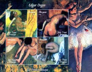 Sao Tome & Principe 2005 EDGAR DEGAS Nudes Paintings Sheet Perforated Mint (NH)