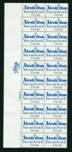 1927 Alcoholism  18¢ Plate Block of 20 Stamps  MNH 1981