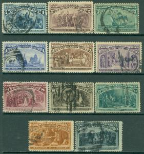 EDW1949SELL : USA 1893 Sc #230-40 Most VF Used Scarce in this condition Cat $465
