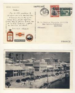 BERMUDA - 1952 - SG 98 & 110 on Pharma Advert Card to FRANCE (+ Aquarium Slogan)