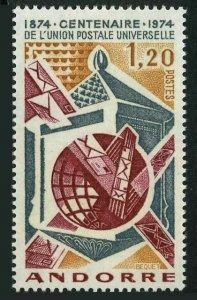 Andorra Fr 235,MNH.Michel 263. UPU-100,1974.Mail box,Chutes,Globe.