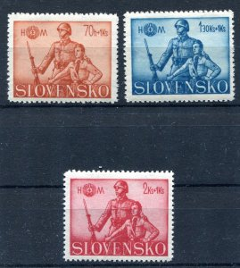 SLOVAKIA WW2 GERMAN PUPPET STATE 1942 HLINKA GUARD SCOTT B8-B10 PERFECT MNH