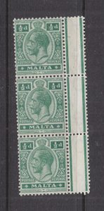 MALTA, 1914 KGV, Mult. CA, 1/2d. Green, marginal strip of 3, mnh, lhm. in margin