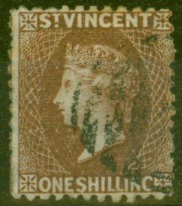 St Vincent 1869 1s Brown SG14 Good Used (2)