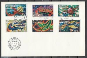 Guinea, Scott Cat. 593-598. Imaginary Space Creatures, IMPERF. First day cover.