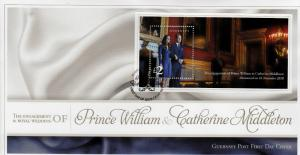 Guernsey 2011 FDC Royal Engagement 1v S/S Cover Prince William Kate Middleton