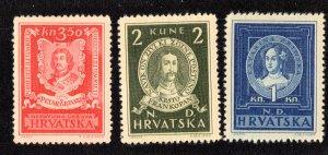 Croatia Scott 56-58 Mint never hinged.