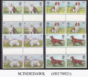 GREAT BRITAIN - 1979 DOGS / PET ANIMAL SET OF GUTTER PAIRS 4V MNH