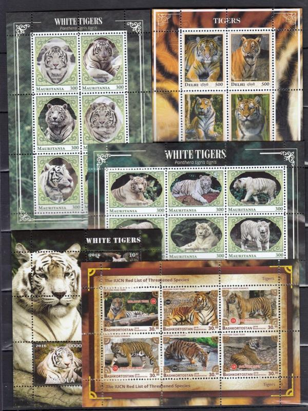 15diff pcs Wilde Tiere White Tiger perf/imperf -  PRIVATE ausgabe /nicht MNH