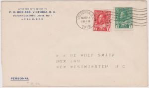 Canada 1c & 2c Admiral Coil #125 & 127 Used on 1919 Cover - VF