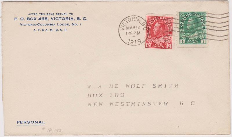 Canada - USC #125 & 127 - 1919 Admiral Cover VICTORIA Machine Cancel
