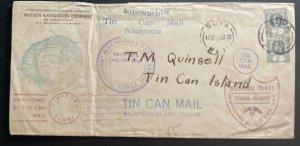 1936 Suva Fiji Matson Co Tin Can Canoe Mail cover To Niuafoou Tonga Toga