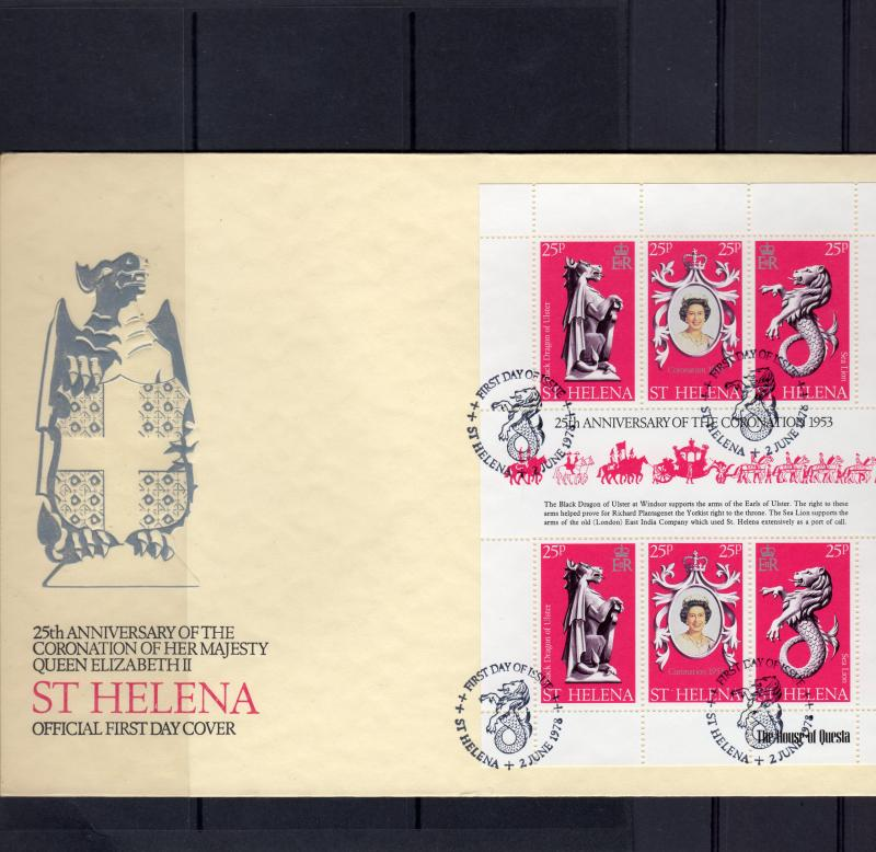 St Helena 1978 Sc#317  Coronation 25th.Anniversary Sheetlet (6) Official FDC