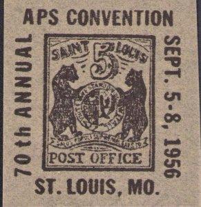 1956 St Louis MO Mound City Stamp Club Bear Stamp Souvenir 70th APS Convention