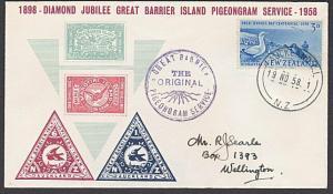 NEW ZEALAND 1958 60th Anniv Gt Barrier Is Pigeongram service cover.........27731