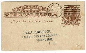 1885 Washington, DC experimental machine cancel on Masonic postal card