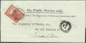 TASMANIA 1904 Birth notice FENTONBURY cds to Hamilton T perfin 1d..........58972
