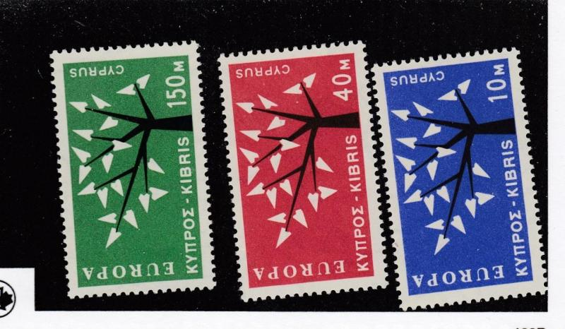 CYPRUS  (MK2635)  #219-221  VF-MNH  10,40,150m  EUROPA ISSUE 1963  CAT VALUE $77