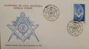 A) 1985, BRAZIL, FREEMASONRY, CENTENARY OF THE ESTRELLA DE OESTE MASONIC LODGE