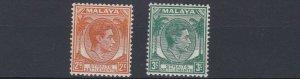 MALAYA  STRAITS SETTLEMENTS  1938 - 41  S G 94 - 95   2C & 3C VALUES  MH