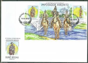 GUINEA BISSAU  2014 25th MEMORIAL ANNIVERSARY OF EMPEROR HIROHITO S/S FDC