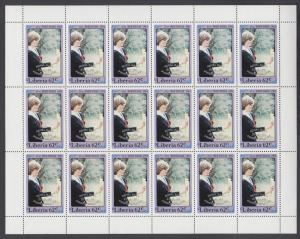 Liberia Sc 962-965 MNH. 1982 Princess Diana w/ Royal Baby ovpt cplt sheets + S/S