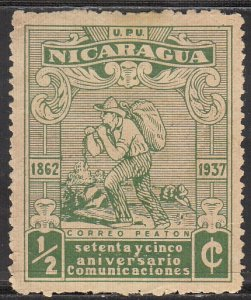 Nicaragua, Sc 665, MH, 1937, Mail Carrier