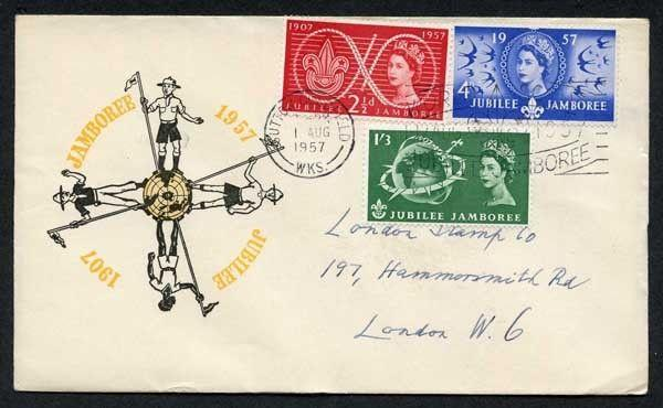 1957 Scouts Illustrated First Day Cover Sutton Coldfield Postmark