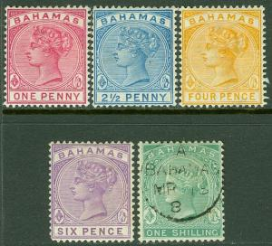EDW1949SELL : BAHAMAS 1882-90 Scott #27-30 VF, Mint OG Also #19 VF Used Cat $51