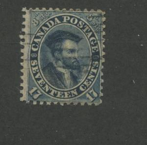 1859 Canada Stamp #19a 17c Used Average Grid Postal Cancel Jacques Cartier