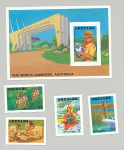 Grenada #1592-1596, 1988 Boy Scouts Jamboree 4v & 1v S/S Imperf Proofs