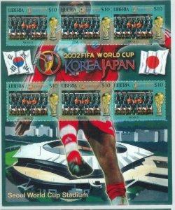 LIBERIA - Stamps M / SHEET - 2002 FIFA Football JAPAN / KOREA:   MEXICO  team