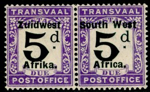 SOUTH WEST AFRICA SGD10, 1923 5d Black & Violet, UNMOUNTED MINT. Cat £55.