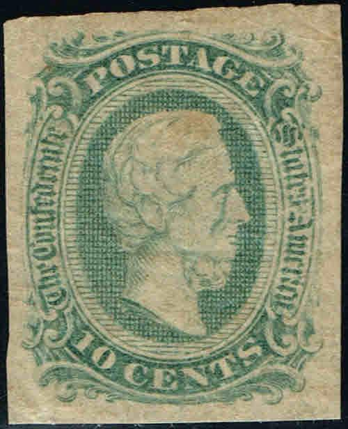 *CSA#11d 1863-64 10c GREEN JEFFERSON DAVIS  CONFEDERATE ISSUE-MINT-OG/H
