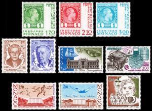 Monaco Scott 1461-1463, 1473-1474, 1475, 1476, 1477-1478, 1480 (1985) Mint NH VF