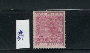 NATAL-SCOTT #57 1974-88 VICTORIA 5 SHILLING (CARMINE) PERF 14- MINT LIGHT HINGED