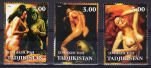 Tajikistan  2002 The Art of Julie Bell Fantasy Set  (3) Perforated MNH