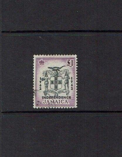 Jamaica: 1962, definitive, £1 Independence Overprint, good used.