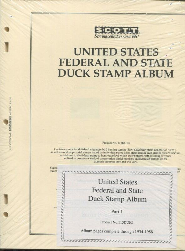 1934-1988 SCOTT United States Federal & State Duck Stamp Album Supplement Pages