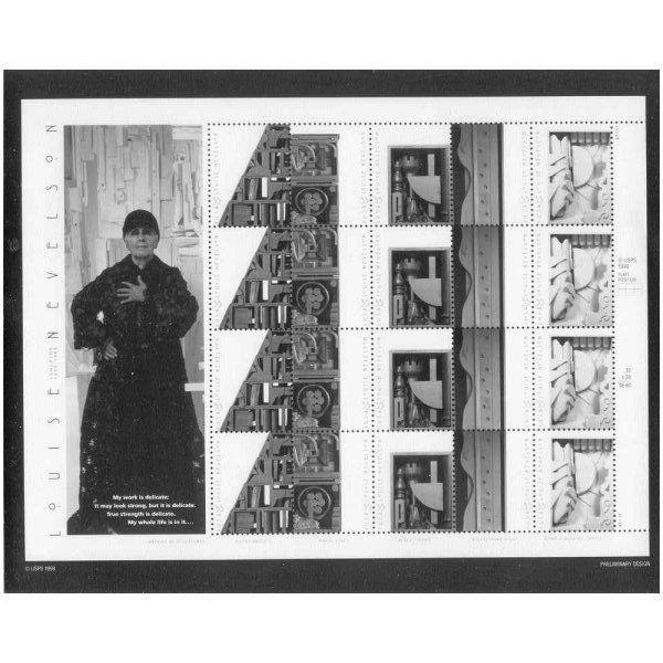 US #3379-83 Sculptor Louise Nevelson Pane Photo of Essay