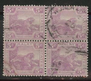 Malaya Scott 57 wmk 4 1922 used block of four