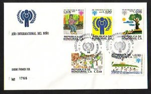 Honduras, Scott cat. C682-C86. Year of Child issue. First Day Cover. ^