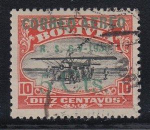 Bolivia 1924 Aviation School 5c on 10c Zeppelin Overprint. Used. Scott C11