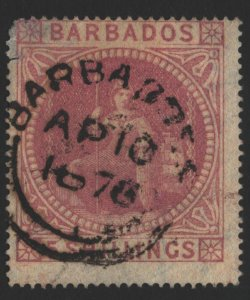 Barbados Sc#43 Used - thin and small tear upper left corner